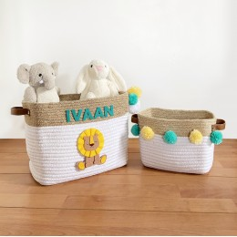 Jute & Cotton Rope Storage Basket - Lion