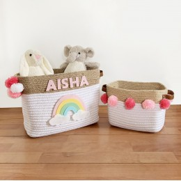 Jute & Cotton Rope Storage Basket - Rainbow