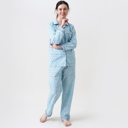 Women lily blockprint pajama set (English Blue)
