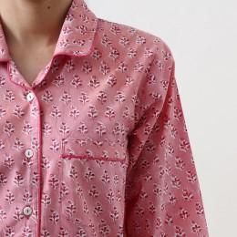 Women lily blockprint pajama set (Watermelon Pink)