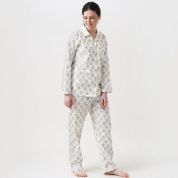 Women madison blockprint pajama set (Yellow)