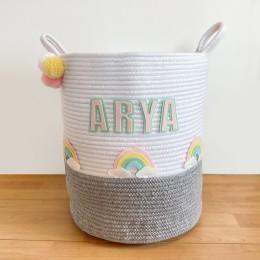 Rainbow - Grey Rope Personalised Storage Basket