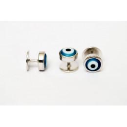 Silver kurta buttons - Turkish evil eye - Nazariya