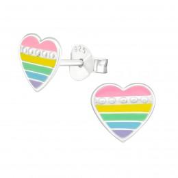 Striped Colourful Heart Earrings
