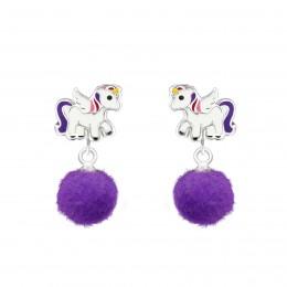 Unicorn Pom Pom Earrings