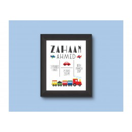 Transport Baby Personalised Birth Stats Wall Art