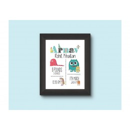 Little Monster Personalised Birth Statistics Wall Art