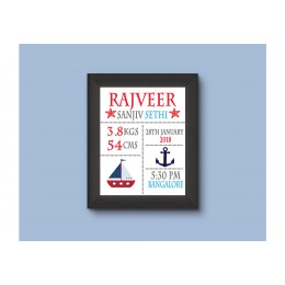 My Blue Sailboat Personalised Birth Statistics Wall Art
