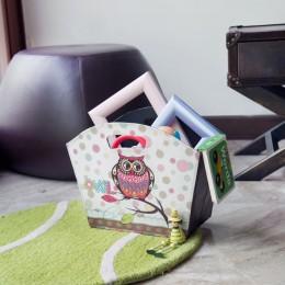 Birdie Leather Canvas Basket