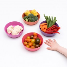 Set of 4 Bamboo Toddlers & Kids Bowls for Cereal & Soup - Sunset