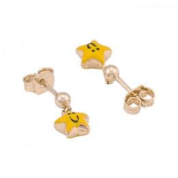 Star Smiley Earrings- 9k Gold With Enamel