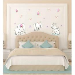 Three Little Elephants in a Row Wall Stickers