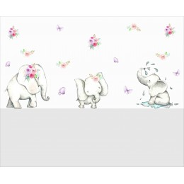 Three Little Elephants in a Row Wall Stickers