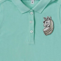 Unicorn Motif Polo Dress (Light Blue)
