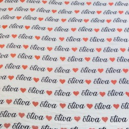 Personalized Name Organic Swaddle - Hearts