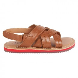Brown Criss Cross Velcro Sandal