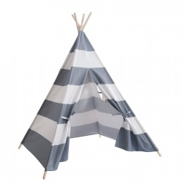Teepee Tent  - Grey and white striped