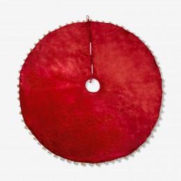 Pom Pom Tree Skirt (Red) - Santa Edition