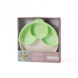 Healthy Meal Suction Plate With Dividers Set - Vanilla & Key Lime