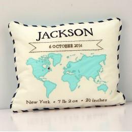My World Birth Pillow (Blue)