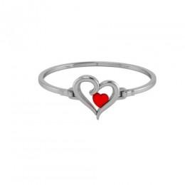Sterling Silver Baby Bracelet Kada - Two Heart Design