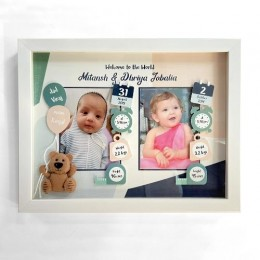 Birth Statistics Frame for Twins or Siblings - Teddy