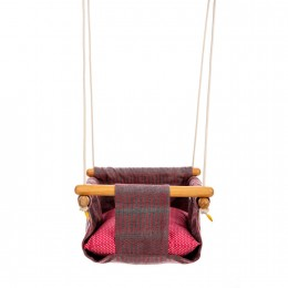 Pine Wood Swing - Grey / Pink Weave
