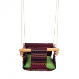 Pine Wood Swing - Multi Colour Weave