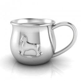 Silver Plated Baby Cup with an Embossed Horse