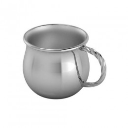Silver Plated Baby Cup - Bulge with a Twisted Handle