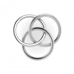 Silver Plated Baby Rattle - 3 Ring Plain Teether