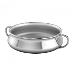 Silver Plated Bowl for Baby and Child - Twisted Handle Feeding Porringer