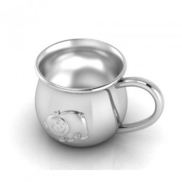Silver Plated Baby Cup with an Embossed Piggy