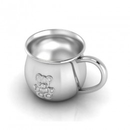 Silver Plated baby Cup with Embossed Teddy