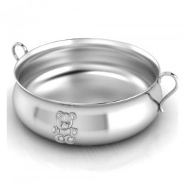 Silver Plated Bowl for Baby & Child - Teddy Embossed Feeding Porringer