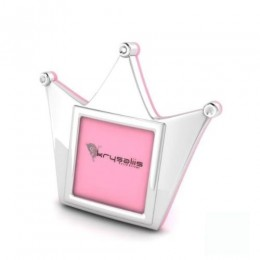 Silver Plated Crown Photo Frame for Baby and Kids - Pink