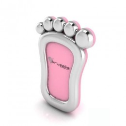 Silver Plated Foot Photo Frame for Baby and Kids - Pink