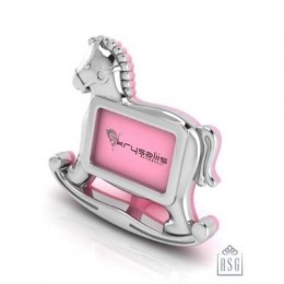 Silver Plated Photo Frame for Baby and Kids - Rocking Horse, Pink