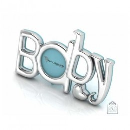Silver Plated Photo Frame for Baby and Kids - The word BABY, Blue