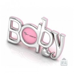 Silver Plated Photo Frame for Baby and Kids - The word BABY, Pink